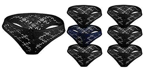 if she 7er Spar Pack Bequeme Damen Slips String Tangas aus Rüschen Spitze mit Schleife in Verschiedenen Farben, Größe:L, Farbe:D