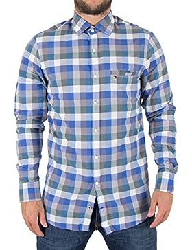 TOMMY HILFIGER Slim Fit Hemd Langarm Brusttasche Karo blau/weiß/grün