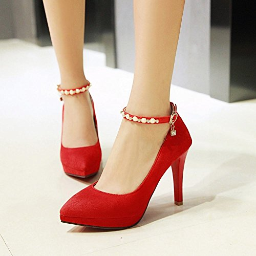 Mee Shoes Damen ankle strap high heels Nubuck Pumps Rot
