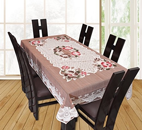 Yellow Weaves™ Designer Dining Table Cover Beige Net Cloth 6 Seater 60x90 Inches(Exclusive Design)