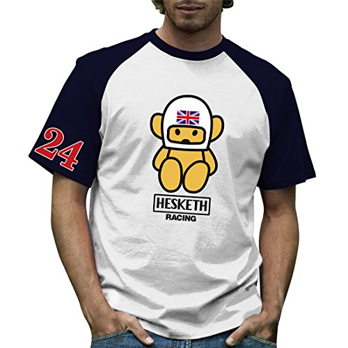 Retro Formula 1 - T-shirt - Homme Blanc White and Navy Blue - Blanc - White and Navy Blue - XXL
