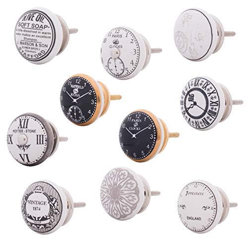 Vintage Möbelknopf Keramik Landhausstil Shabby-Chic Französisch Alte Uhr Möbelknauf Schrankgriff (Mix-Set 10 Stück) (Vintage Französisch Türen)
