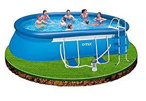 Intex 18ft X 10ft X 42in Deep Oval Swimming Pool With Pump Ladder Ground Cloth And Cover