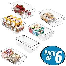 mDesign boîte de rangement à poignée en plastique (lot de 6) - grand bac en plastique idéal en cuisine, dans un placard ou comme boîte pour frigo - transparent