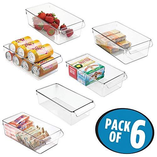 mDesign Juego de 6 cajas de almacenaje para nevera o congelador - Envases de plástico para alimentos - Contenedores de plástico grandes y con asa para la cocina - transparente