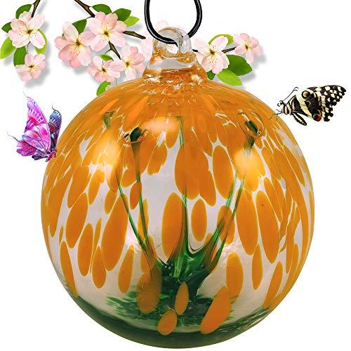 Grateful Gnome - mundgeblasene Glas-Ornament-Gartenkugeln - Orange Spirit Tree Garden Globe - Orange Globe Bird