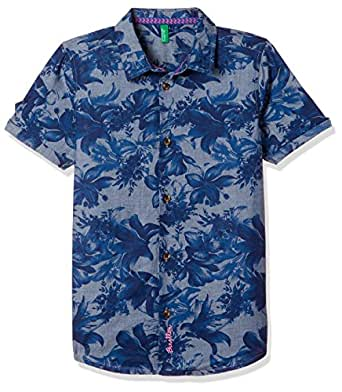 United Colors of Benetton Boy's Floral Regular Fit Shirt (18P5DENC019SI_901_Blue_XS)
