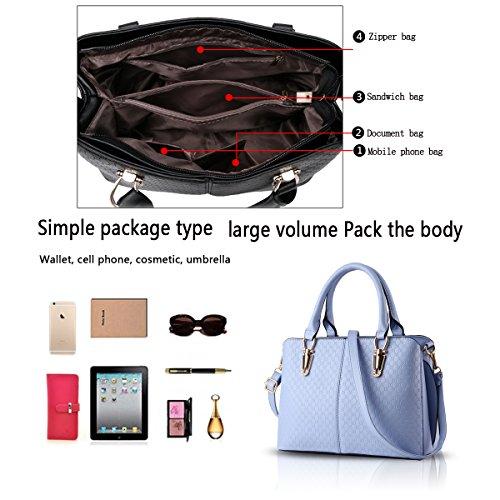H&S Borsa a tracolla borsa in pelle goffrata borsa qualità Ms. borsa raccoglitore dell'unità di elaborazione Messenger bag big bag azzurro