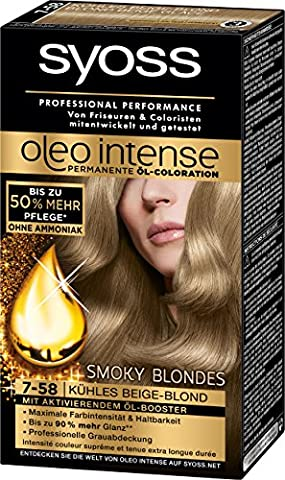 Syoss Oleo Intense Coloration 7-58 Kühles Beige-Blond Smoky Blondes, 3er Pack (3 x 115 ml)