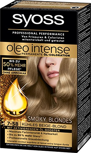 Syoss Oleo Intense Coloration 7-58 Kühles Beige-Blond Smoky Blondes, 3er Pack (3 x 115 ml)