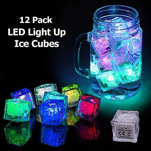 (Dekoration Licht LED Eiswürfel Multicolor LED-Glühen-Licht Non Toxic Wassertauch LED Ice Cubes für Getränke Eiswürfel Licht für Bar Club Hochzeit Weihnachten Halloween Partys Dekoration, 12 Stück)