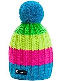 4sold IGI Lady Skullies Bonnets Bonnet fourré hiver pour femme bonnet tricoté avec torsades et gros pompon en fourrure plusieurs coloris taille unique
