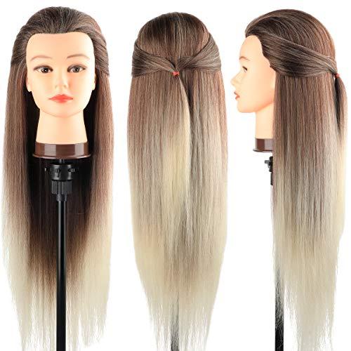 Trainingsköpfe 100% von dem Hochtemperaturfaser Haar Hairdressing Cosmetology Mannequin Frisierkopf Übungskopf mit Halterung+ DIY Haar Zubehör styling