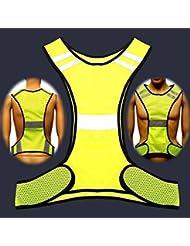 CAMTOA Gilet de sécurité haute visibilité-Veste réfléchissante-bandes fluorescentes jaune veste réfléchissante la visibilité de nuit
