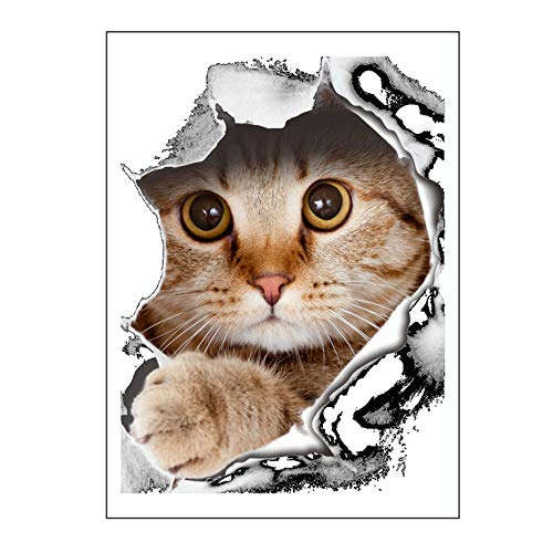 WEIWEITOE-DE Neuheit Nette Kätzchen Muster Wc Aufkleber Badezimmer Wand Hauptdekorationen Kunst Poster Papier Abziehbild, braun, (Braun-wand-abziehbilder)