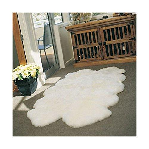 WaySoft Umweltfreundlich Elfenbeinfarben Neuseeland Schaffell Teppich, luxuxry Echtes Fell Teppich, die Perfekt Geschenk für Mama, Oma, Opa Oder Einzugs Geschenk 4ft x 6ft Elfenbeinfarben -
