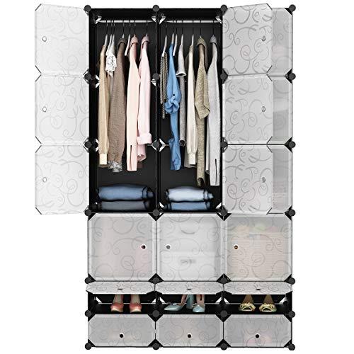 LANGRIA 18 Cube DIY Modular Cubby Regal Storage Organizer Extra groß Kleiderschrank mit Kleiderstange, Möbel für Kleidung - Cube Storage-system