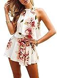 FUTURINO Damen Floral Print Zweiteiler Sommer Strandkleidung Neckholder Outfit Set Weiß S
