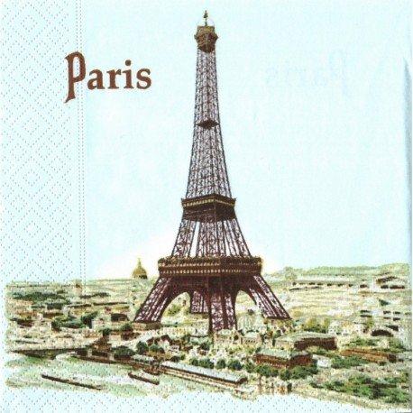 Lot de 20 Serviettes en papier motif La Tour Eiffel à Paris, 33x33 cm