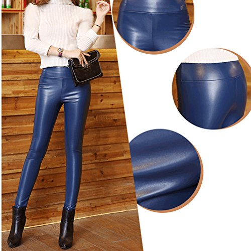 Laixing Hot Women Faux Leather Skinny Stretch Trousers PU High Waist Pencil Pants 8932 Dark Blue