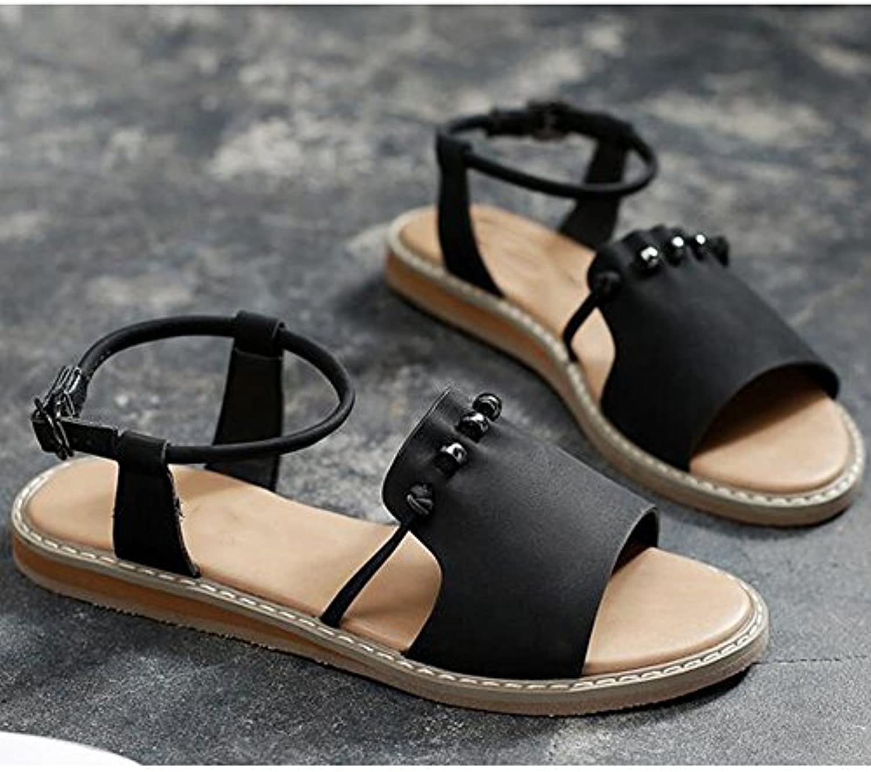 XIAOLIN Einfache flache Boden Sandalen weibliche Sommer Mode Student weibliche Sandalen Frauen Sommer Strand Schuheö