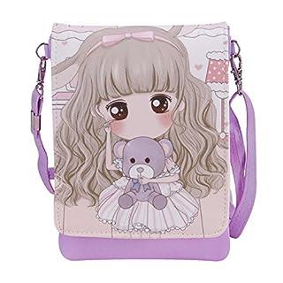 AfinderDE Kinder Mädchen Handytasche Hüfttasche Geldbeutel Umhängetasche Cartoon Smartphonetasche Kartenmappe Handy Beutel PU Leder Tasche