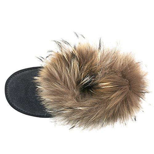 Shenduo Bottes d'hiver pour femme en cuir - Boots & Bottines fourrées courtes plates doublure chaude D9258 Gris