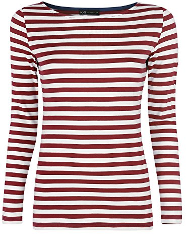 oodji Collection Damen Gestreiftes Langarm-T-Shirt Rot (4912S)