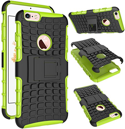 Nnopbeclik 2in1 Dual Layer Coque Iphone 6 Silicone / Coque Iphone 6S Apple [Neuf] [Armor Séries] Protectrice Fine Et Élégante Rigide Back Cover Incassable case pour Iphone 6S Coque Silicone / Iphone 6 vert