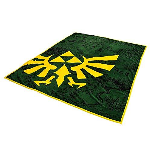 Zelda Flausch Decke Hyrule Logo Nintendo Elbenwald 160x200cm grün gelb