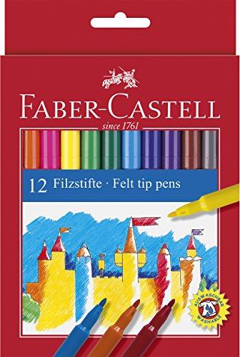 Faber Castell 554212 – Estuche de cartón con 12 rotuladores escolares, punta de fibra, multicolor