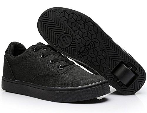 hanyu Enfant Chaussures, American épais Enfant Sport Ultra Light Adult Chaussures Patins à roulettes, homme et femme, Single Wheel Chaussures. (12UK, Noir)