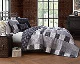 Restmor Tagesdecke Steppdecke mit Quilt Patchwork Design, Zweiseitig - Gesteppter Bettüberwurf - Erhältlich in 3 Größen mit Kissenbezug (Double (230x250cm),Jumana)