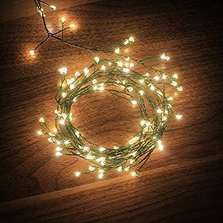Dailyart 120 LED verde Oscuro del alambre de Cobre luces, luces de cable de acero, luz estrellada para la de Jardines, Hogares, Boda, Fiesta de Navidad, que Funcionan con Baterías, 8 modos, a prueba de agua IP44 [Clase de eficiencia energética A++]