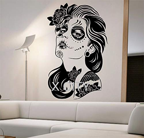 Tag der Toten Wandtattoo ROSES MÄDCHEN Vinyl Aufkleber Kunst Dekor Home Schlafzimmer Design Wandbild innen Zucker Schädel Wohnzimmer Tattoo 58 * 90 cm (Toten Tattoo Der Mädchen Tag)