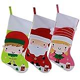 WEWILL Marca Borse di Natale Decorazioni di Natale Borse Santa Lovely Girl e Boy, 16 inch/ 41CM, Pacco di 3