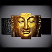 mmwin Wall Art Modular Poster HD Printed Modern 5 Panel Gold Buddha Landscape Canvas Living Room Pictures Home Decor