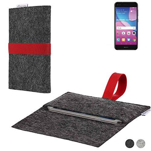 flat.design Handy Hülle Aveiro für Huawei Y6 Pro 2017 Dual SIM passgenaue Filz Tasche Case Sleeve Made in Germany