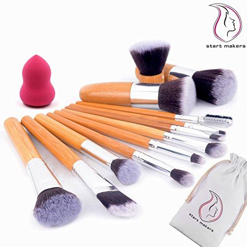 Makeup brushes Start Makers 12+1 Piece Professional Makeup Brushes Sets Bamboo Handle Make up Brushes +1pcs Makeup Sponge - Natural Soft Kabuki Make up Brushes Sets - Face Eye Makeup Kits Set with Travel Pouch