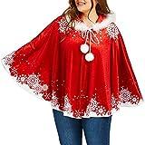 IZHH Weihnachtsschal, Schneeflocke Print Mantel Passend Venonat Seidige Kapuze Cape Mantel Party Top Karneval Festival Schal(Rot-1,Large)