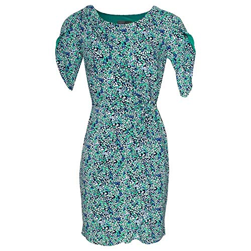 Michaela Louisa Green Short Sleeve Printed Wrap Dress