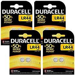 Pile bouton alcaline Duracell spéciale LR44 1,5V, pack de 8 (76A / A76 / V13GA), conçue pour une utilisation dans les jouets, calculatrices et dispositifs de mesure