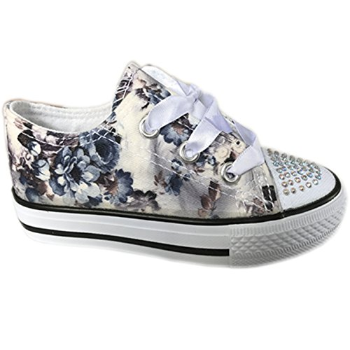MYSHOESTOREDiamante Canvas Shoes - A collo basso da ragazza' Black / Floral
