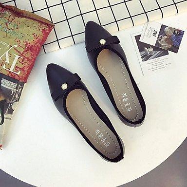 SHOESHAOGE Chaussures Pour Femmes Printemps Été Pu Semelles Lumière Confort Appartements Talon Plat Bout Rond Pour Une Tenue Décontractée Rouge Rose Beige Noir Black