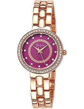 INWET Kristall Damen Armbanduhr,Lila Zifferblatt,Strass Blenden,Rose Gold Gehäuse und Armband