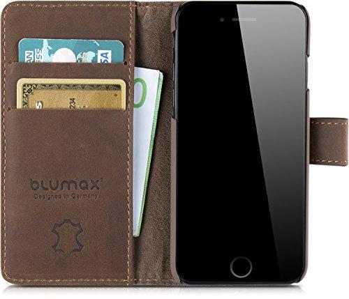 Blumax iPhone 8/7 Leder Flip Case Echt Ledertasche Tasche Hülle für Apple iPhone7 und iPhone8 mit...