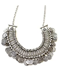 Shining Diva Fashion Jewellery Bohemia Gypsy Tibetan Vintage Coin Party Wear Necklace For Girls & Women(Silver)(8547np)