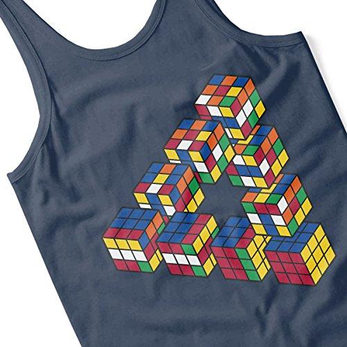 Puzzle Cube Penrose Triangle Men's Vest Navy Blue