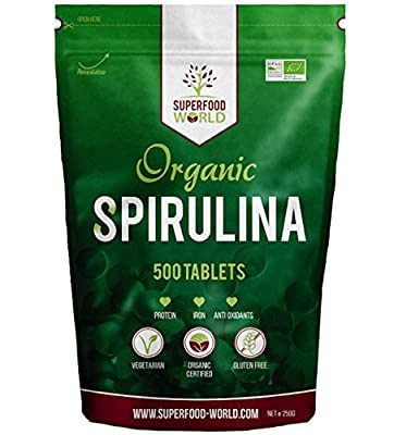 Organic Spirulina 500 Tablets | Pure Blue-Green Algae Dietary Superfood | Great Source of Vegan Protein, Iron & Vitamins | Certified Organic, Ideal for Smoothies, Sports Nutrition, Detox & Energy