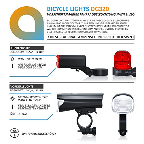 CSL – StVZO LED Fahrradbeleuchtung Set | Modell DG320 | Fahrradlampen / Fahrradlicht / Fahrradlampenset inkl. Front- und Rücklicht | helle LED (30 Lux) | energiesparend | Regen- und Stoßfest - 5